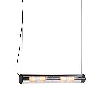 QAZQA Hanging lamp black 4-lights with ribbed glass - Costilla