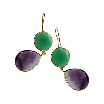 Gemshine Ohrringe Smaragd und Amethysten Tropfen in 925 Silber oder vergoldet