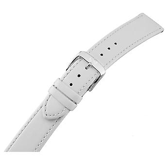 Ladies watch strap with stainless steel buckle white 22 mm leather