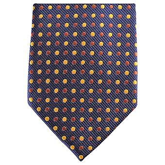 Knightsbridge Neckwear Spotted Regular Polyester Tie - Navy/Yellow/Brown