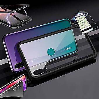 Für Huawei Y6 2019 Magnet / Metall / Glas Tasche Case Schwarz / Transparent + 0,26 mm H9 Hart Glas
