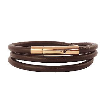 Lederkette Lederband 4 mm Herren Halskette Braun 17-100 cm lang mit Hebeldruck Verschluss Rose Gold Rund