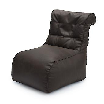 Luxury Scroll Style Chocolate Faux Leather Bean Bag Lounger Chair