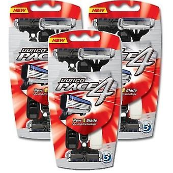 [DORCO] Pace4 (FRA100) Disposable Razor,Pace 4, 4 Blade Shaving System,Men x9pcs