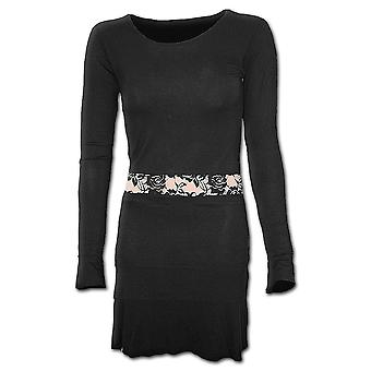 Spiral Direct Gothic GOTHIC ELEGANCE - Fullsleeve Lace Waist Dress Black|Gothic