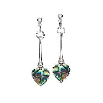 Eternal Collection Keepsake Paua Shell Heart Silver Tone Drop Pierced Earrings