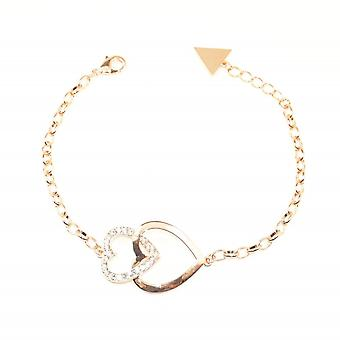 VIP Rose Gold Plated Double Heart Crystal Bracelet