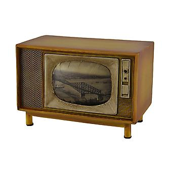 Brown Vintage Finish Retro Console Television Coin Bank
