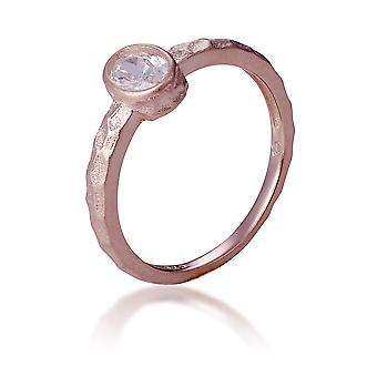 Orphelia Silver 925 ring Rose med oval Middlestone ZR-7434