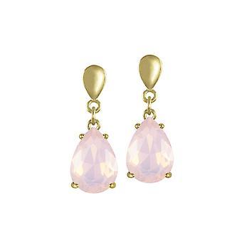 Ewige Sammlung Verführung Teardrop Rosenwasser Opal Kristall Gold Ton Drop Ohrstecker