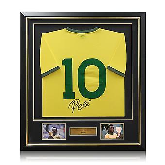 Pele signiert Nummer 10 Brasilien Fußball Shirt gerahmt
