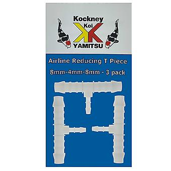 Kockney Koi 8mm-4mm-8mm Airline Reducing T Piece (3pk)