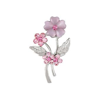 Eternal Collection Verity Pink Cat-apos;s Eye And Crystal Silver Tone Brooch