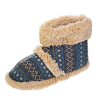 Coolers Mens Faux Fur Lined Fairisle Knitted Boot Slippers