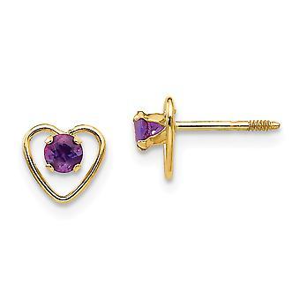 14k Yellow Gold Polished Screw back Post Earrings 3mm Amethyst Love Heart for boys or girls Earrings Measures 6x6mm