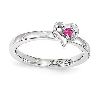 2.25mm 925 Sterling Silver Polished Prong set Stackable Expressions Created Ruby Love Heart Ring Jewely Gifts for Women