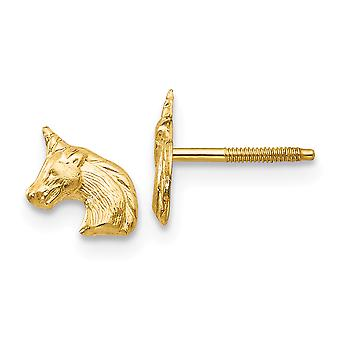 14k Yellow Gold Polished Screw back Unicorn Post Earrings Jewelry Gifts for Women - .2 Grams