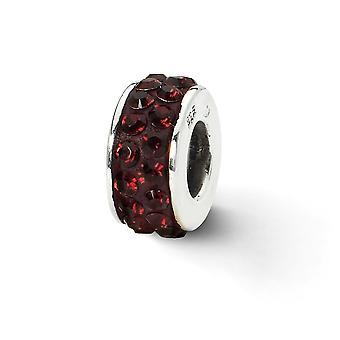 925 Sterling Silver polerade reflektioner Crimson Double Row Crystal Pärla Charm Hängande Halsband Smycken Gåvor för kvinnor