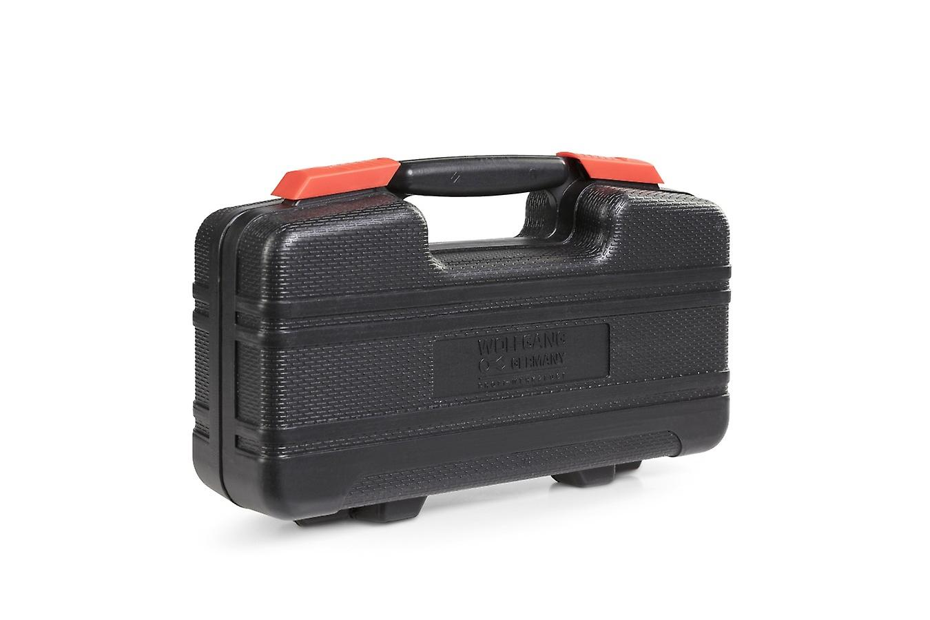 WOLFGANG 73 parts tool case with cordless screwdriver 3.6 V and bit set, hammer, pliers, water balance etc., toolbox as basic equipment for household, car, workshop