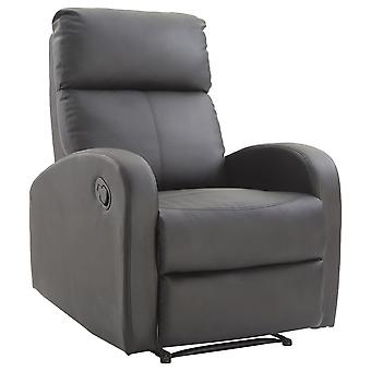 HOMCOM PU Leather Recliner Reclining Sofa Armchair Padded Relax Lounge Seat Single Chair Adjustable Footrest Black