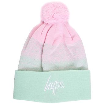 Hype Speckle Fade Script Bobble Beanie Hat Pink 02