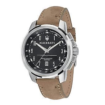Maserati R8851121004 Men's Brown Strap Successo Wristwatch