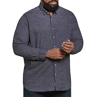Duke D555 Mens Big Tall Kingsize Babworth Long Sleeve Collared Shirt - Navy