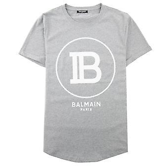 Balmain Printed Balmain Paris Logo T-Shirt Grey