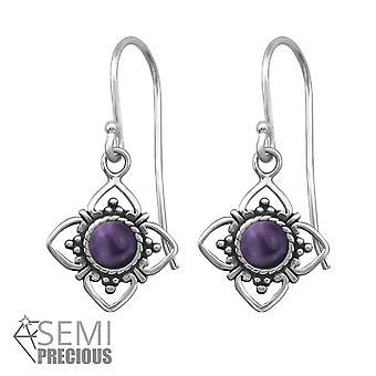 Blume - 925 Sterling Silber Opal und halb kostbaren Ohrringe - W30294X