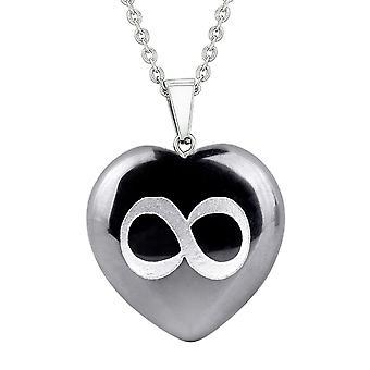 Amulett Infinity magischen Einheit Kräfte Schutz Energie Hämatit geschwollenen Herz Anhänger Halskette