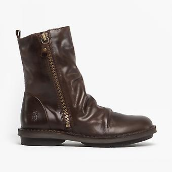 Fly London Fade966fly Ladies Leather Ankle Boots Dark Brown