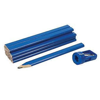 Carpenters Pencils and Sharpener Set 13pce - 175mm