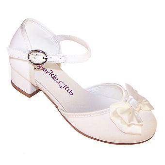Kızlar ışıltılı fildişi topuklu nedime ayakkabıları