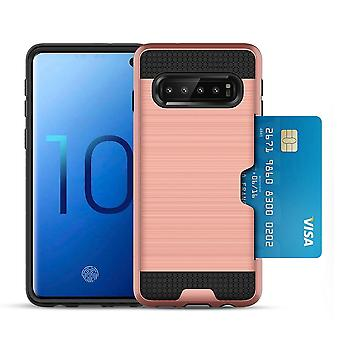Para Samsung Galaxy S10+ Plus Case, Rose Gold Brushed Texture PC+TPU Armour Case