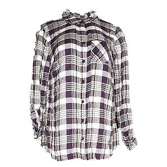 Style et Cie Femmes plus Top Femme Fusion Hally Plaid Shirt Purple