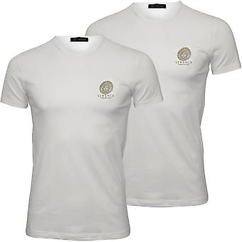 Versace 2-Pack Iconic Crew-Neck T-Shirts, White