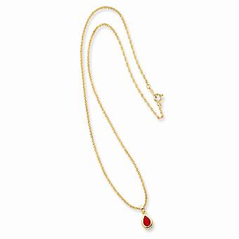 14k Gold Plated Spring Ring Julho Teardrop CZ Cubic Zirconia Simulated Diamond Necklace 18 Inch Joias Presentes para Mulheres
