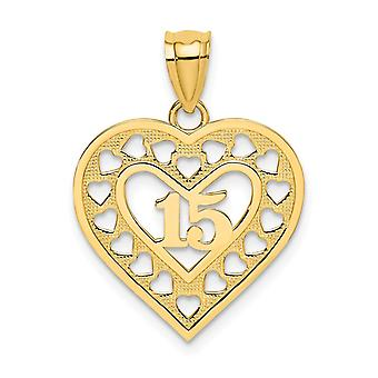 14k Gold 15 Inch In Cut Out Love Heart Pendant Necklace Fram - 1.3 Grams