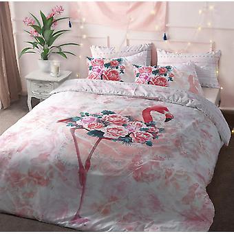 Flamingo Floral Bedding Set