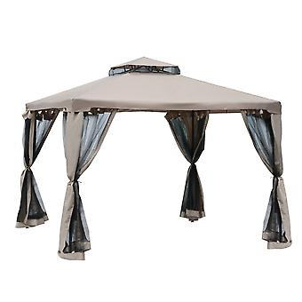 Outsunny 3 x 3 Meter Metal Gazebo Garden Outdoor Marquee Party Tent Canopy Pavillion Patio Shelter with Mesh Sidewalls Taupe