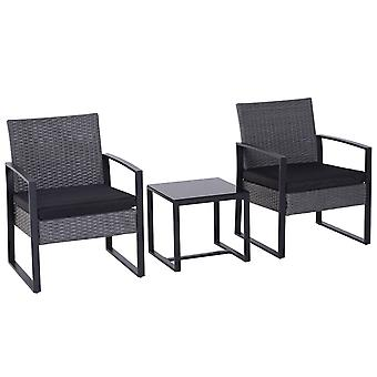 Outsunny 3PC Rattan Coffee Table and 2 Chairs Set Bistro Set Garden Yard Outdoor Patio Wicker Furniture Grey