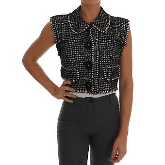 Dolce & Gabbana Gray Black Tweed Vest Jacket