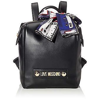 Kjærlighet Moschino Bag Liten Korn Pu Ryggsekk Kvinner (Svart)) 28x24x12 cm (B x H x L)