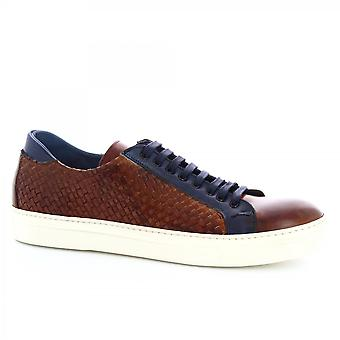 Leonardo Shoes Men's handmade casual lace-ups shoes in tan blue woven leather