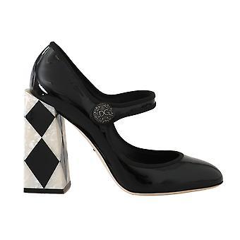 Dolce & Gabbana Schwarz Leder Square Heels Pumps