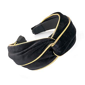 6cm Black And Gold Colour Velvet Look Knot Design Alice Band Fashion Headband