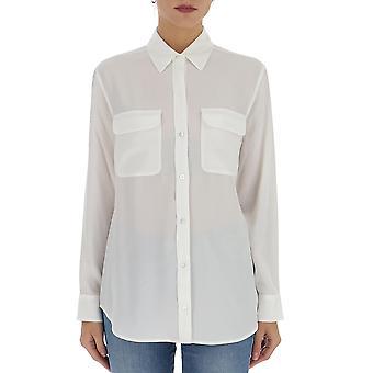 Equipment Q23e035brightwht Women's White Silk Shirt