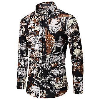 Allthemen Men's perinteinen mekko paita painettu pitkähihainen t-paita