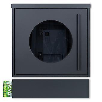 MOCAVI Box 105G ZF 1 7016 Letterbox incl. fenêtre d'observation anthracite-gris (RAL 7016) avec compartiment de journal peut être installé séparément