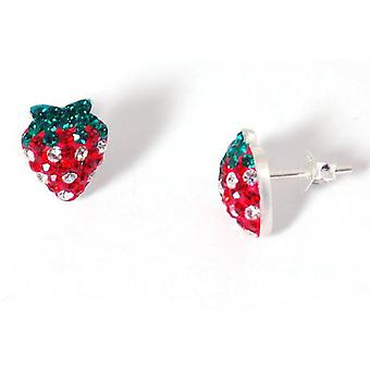Toc Sterling Silver Crystal Encrusted Strawberry Stud Earrings